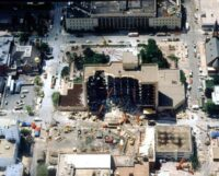 Aerial view of the Alfred P. Murrah Federal Building after bombing