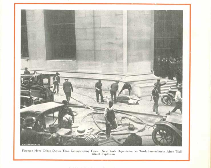 Firefighters respond to 1920 Wall Street bombing