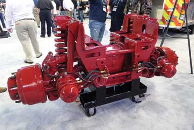 (5) The newly designed Pierce TAK-4 3 mechanical independent rear suspension system.