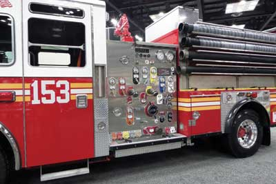 (11) The FDNY pumper has all crank valves and four different suction hoses.