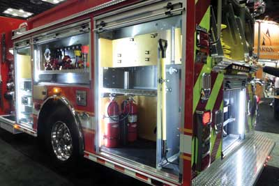 (32) The Columbus (OH) Fire Department's Sutphen pumper with plywood mounting surfaces.