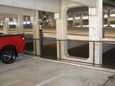 These sloped roadways and parking slots are deep inside the structure.