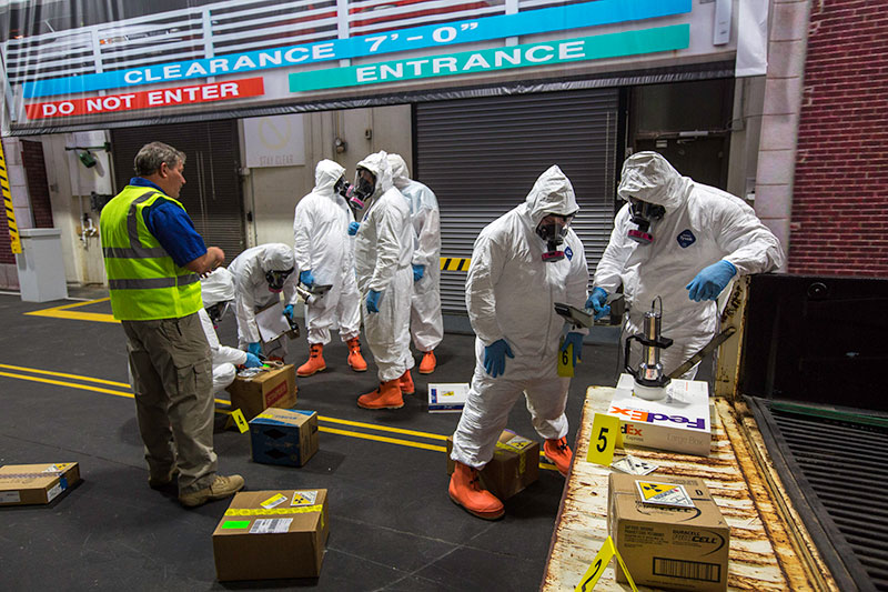The five-day Hazardous Materials Technician for CBRNE Incidents (HT) course provides hands-on training for a majority of the course. The Center for Domestic Preparedness (CDP) has also crafted an indoor street scene and uses the training venue for many different scenarios, such as a vehicle accident carrying radiological material..