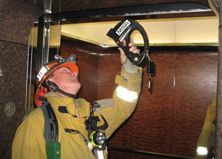 (5) <i>Always</i> check the shaft for smoke, fire, and water prior to elevator use.