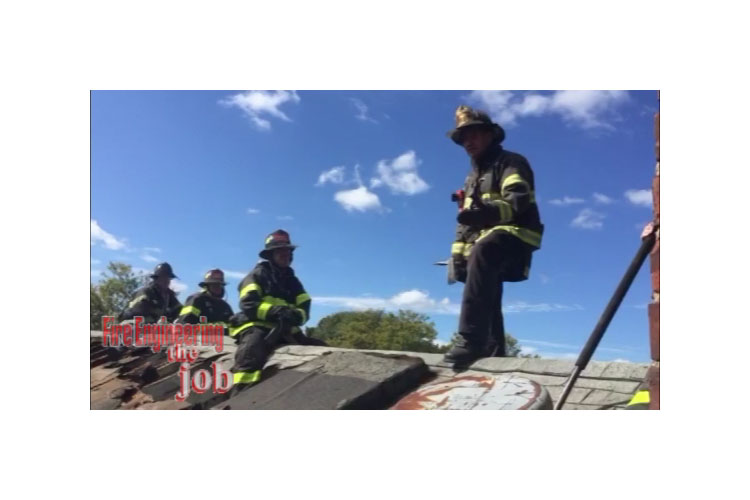 Firefighters on a roof