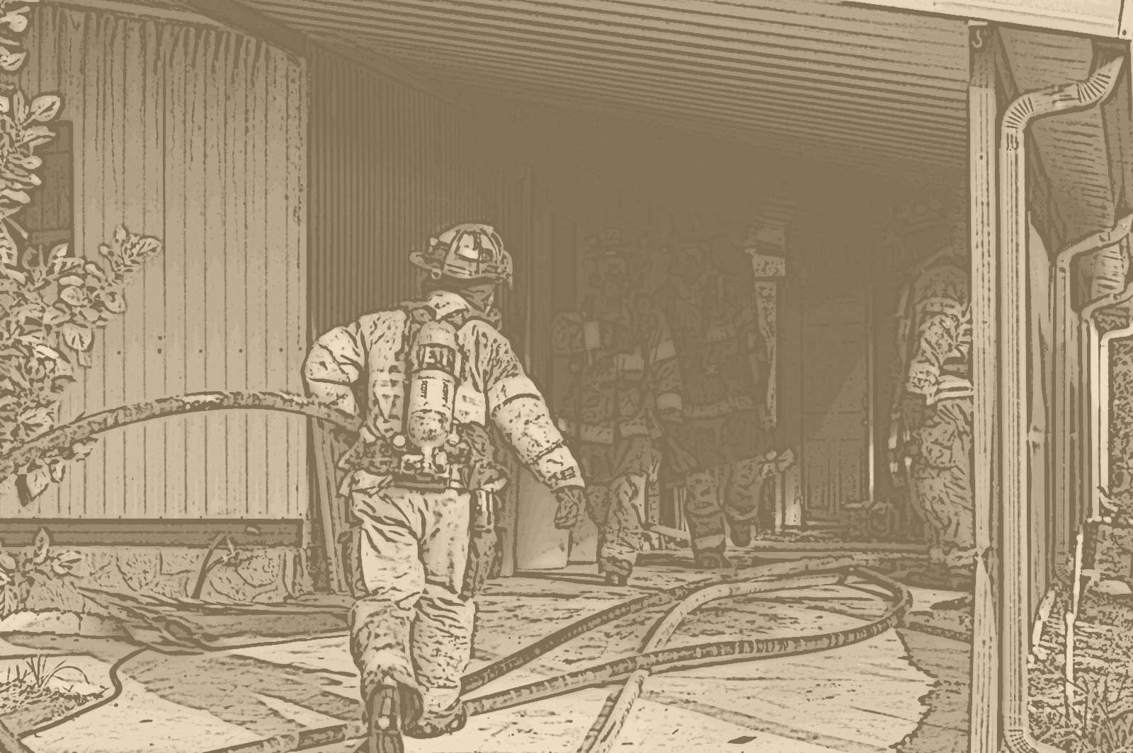 Firefighter advancing a hoseline into a home