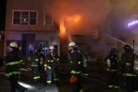 Chicago firefighters at the scene of an October 2020 fire