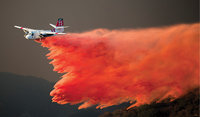 Fixed-wing aircraft have the greatest impact on large, fast-moving fire fronts.