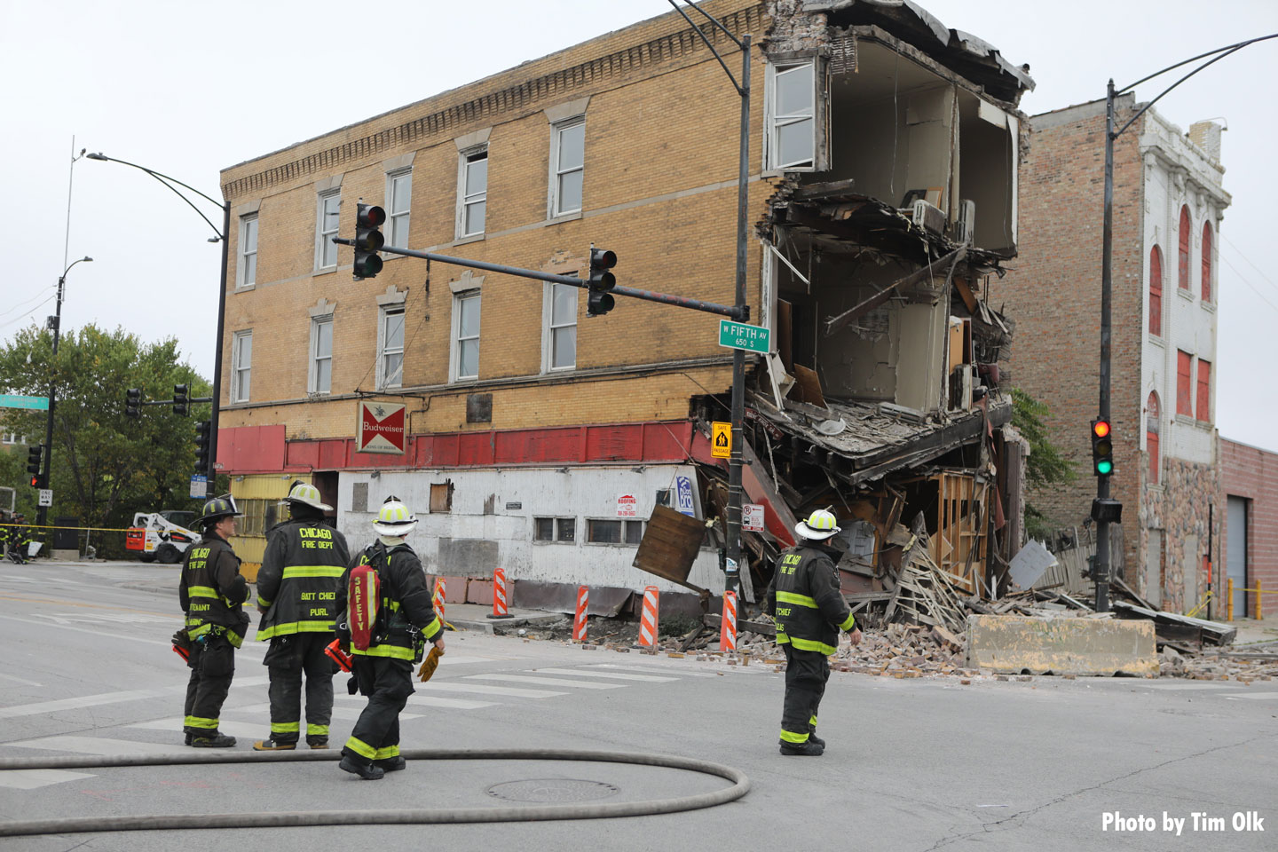 Chicago firefighters operate at the scene of a collapsed structure.