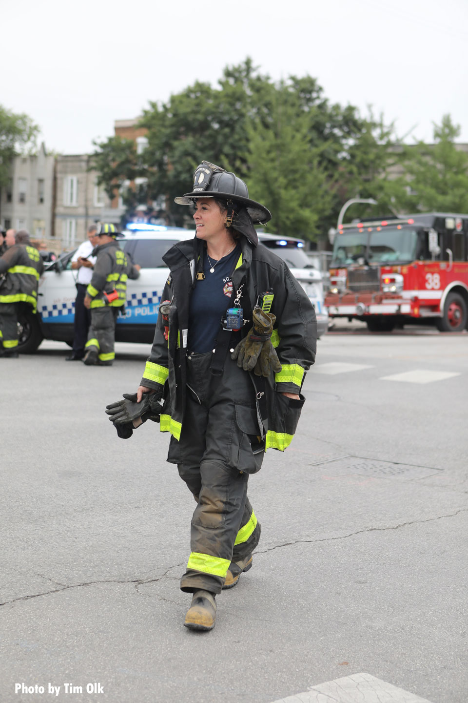 A Chicago firefighter on scene at the building collapse.