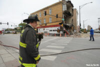 Firefighter at scene of Chicago building collapse