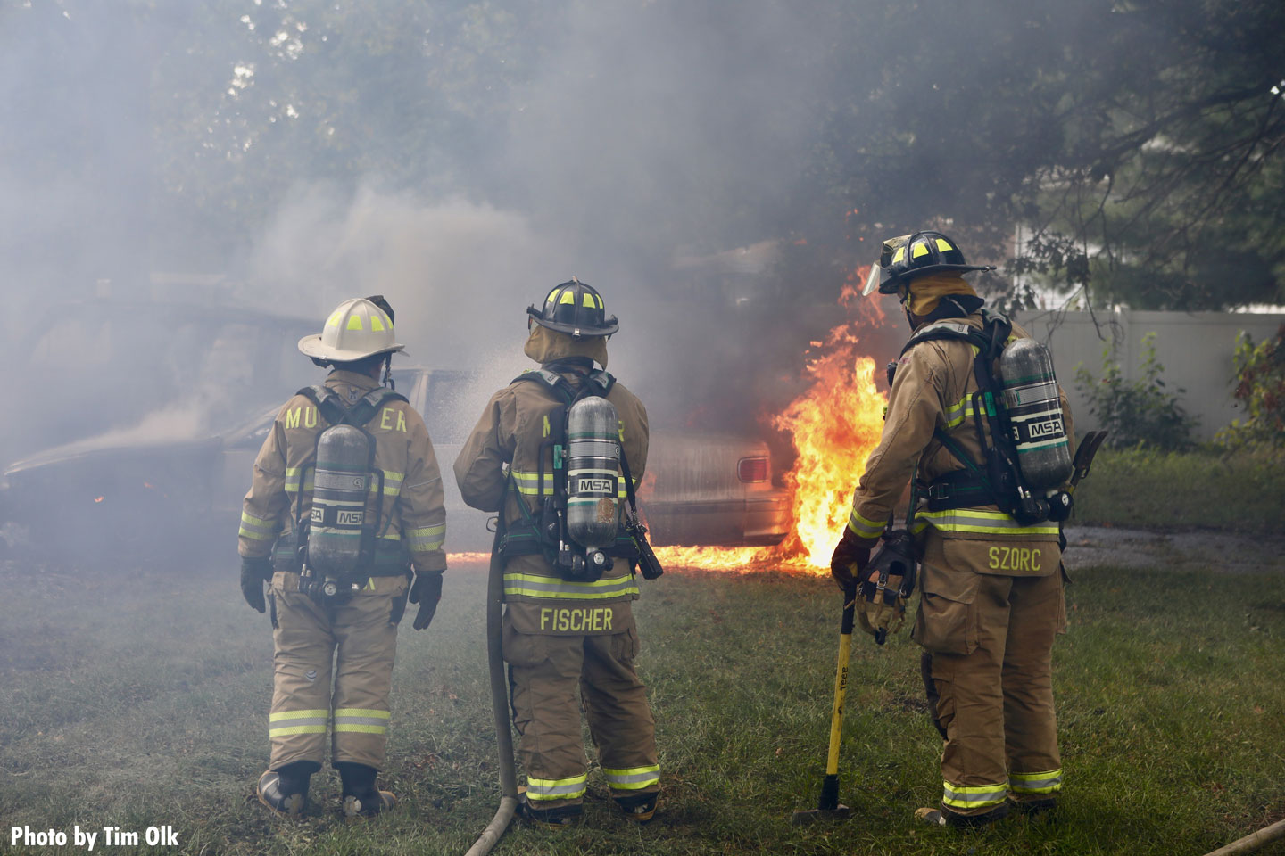 Firefighters on scene of a garage fire in Griffith, Indiana.