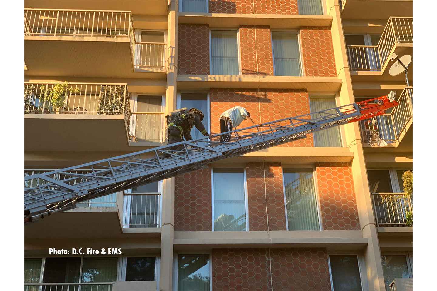 One person was rescued by a ladder from the apartment fire, and no injuries were reported.