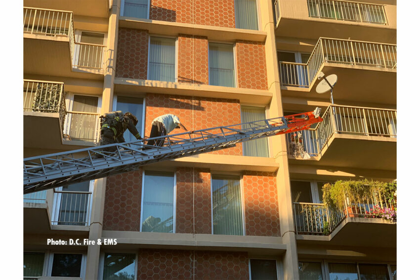 A D.C. firefighter rescues a person from the fire via a ladder.