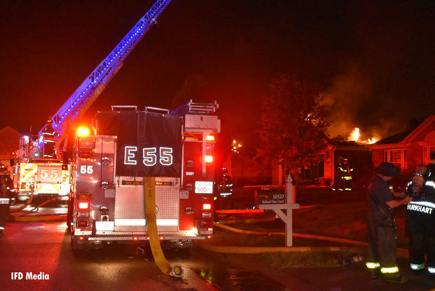 Fire burns a home as Indy firefighters and rigs get to work.