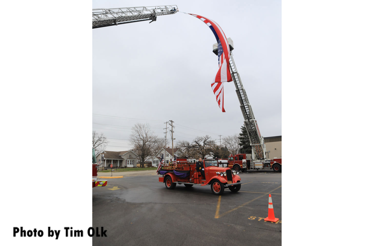 A photo of the old apparatus beneath the flag