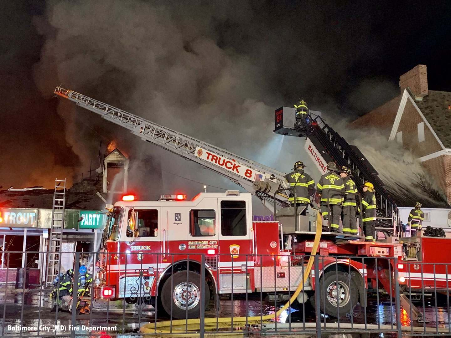 No injuries were reported in the fire at Edmondson Village Shopping.