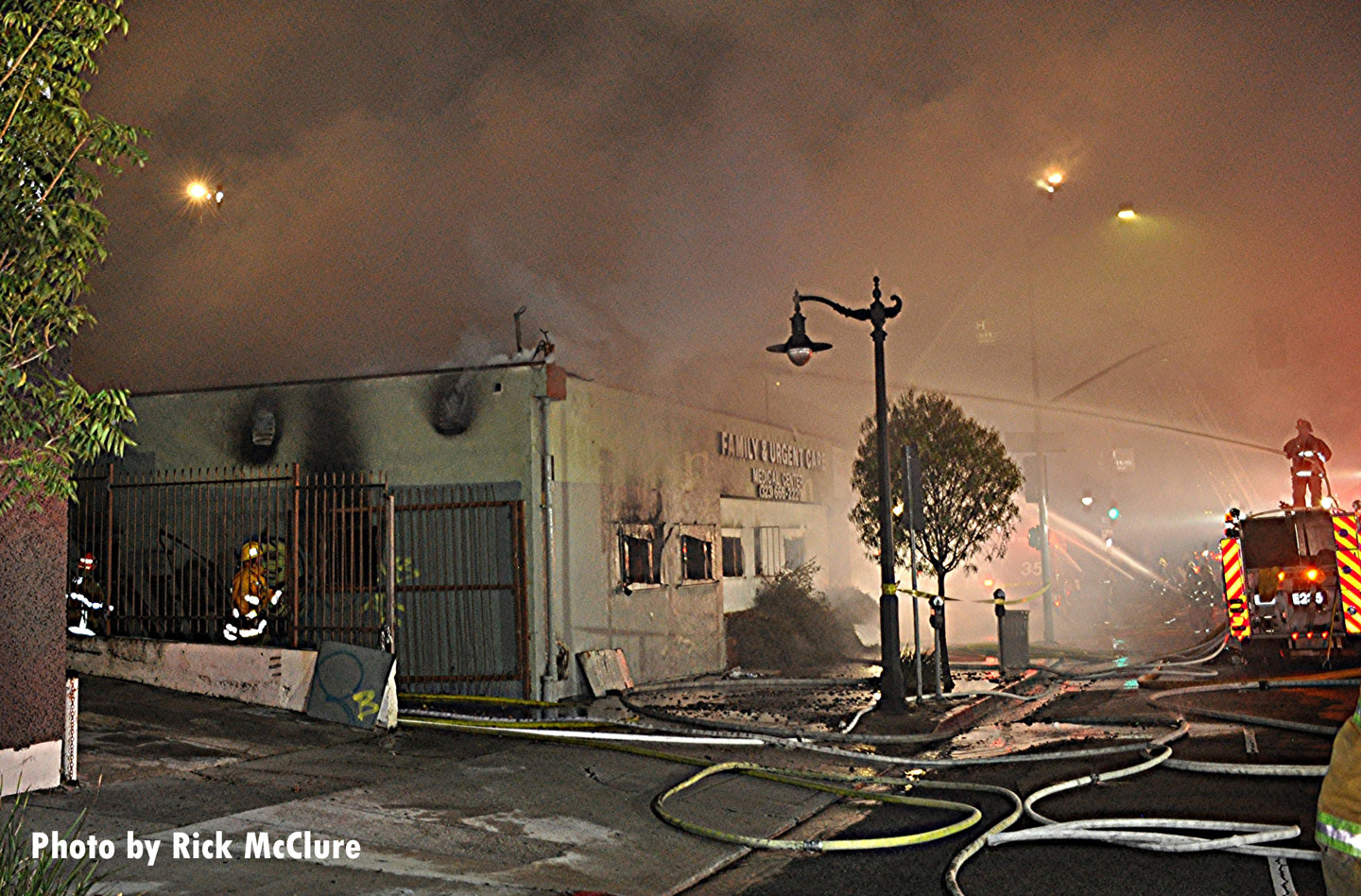 Smoke blankets the scene as City of Los Angeles crews responded to a fire in a vacant building.