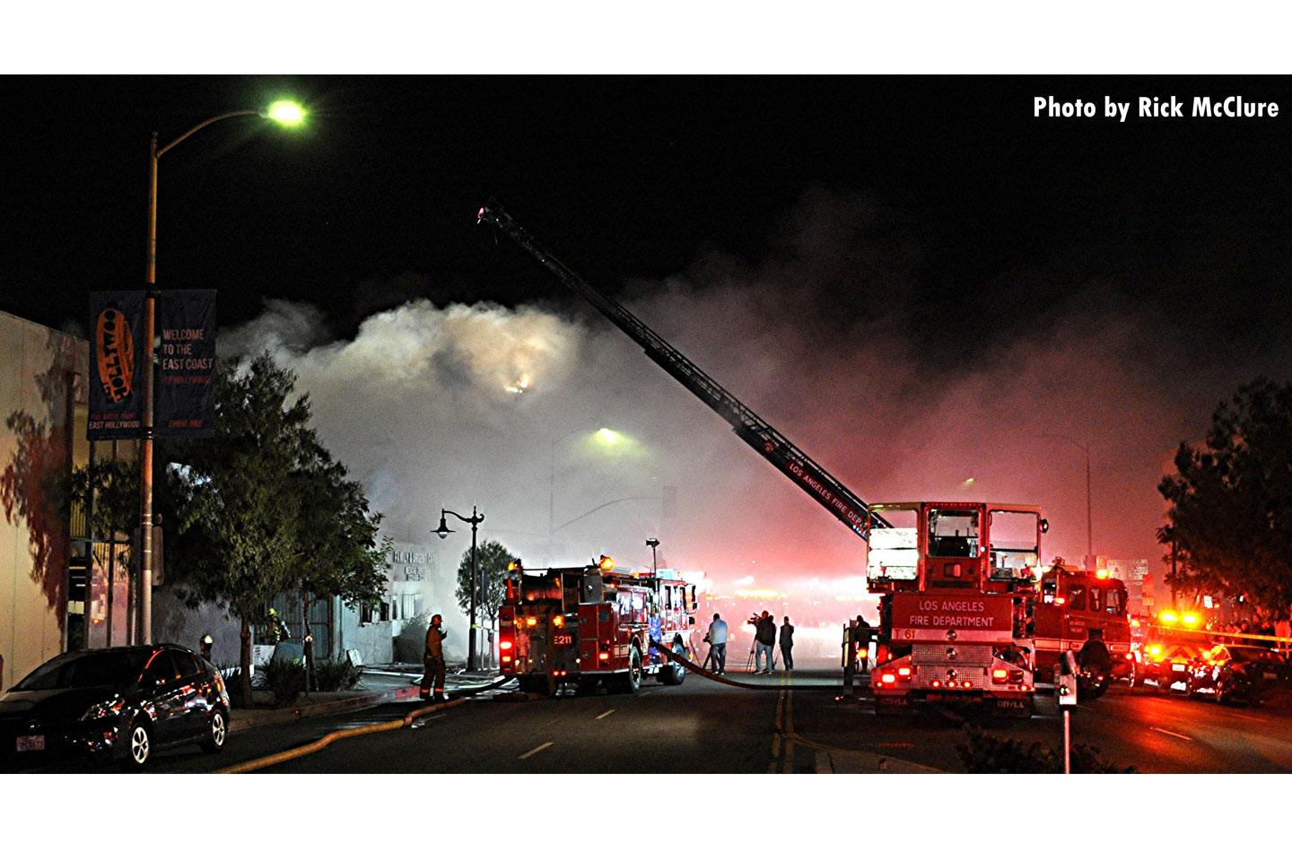A view of aerial operations as firefighters adopted a defensive posture at this fire scene.