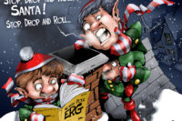 Stop, drop, and roll Santa by Paul Combs