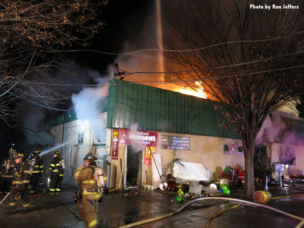 The fire tore through a single-story structure that had several businesses.