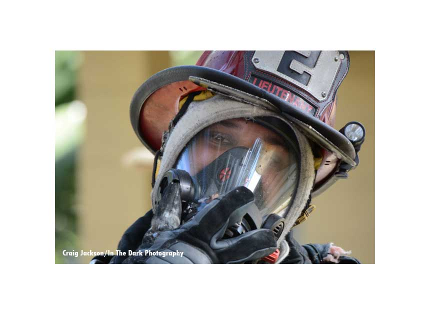 Firefighter with an SCBA mask