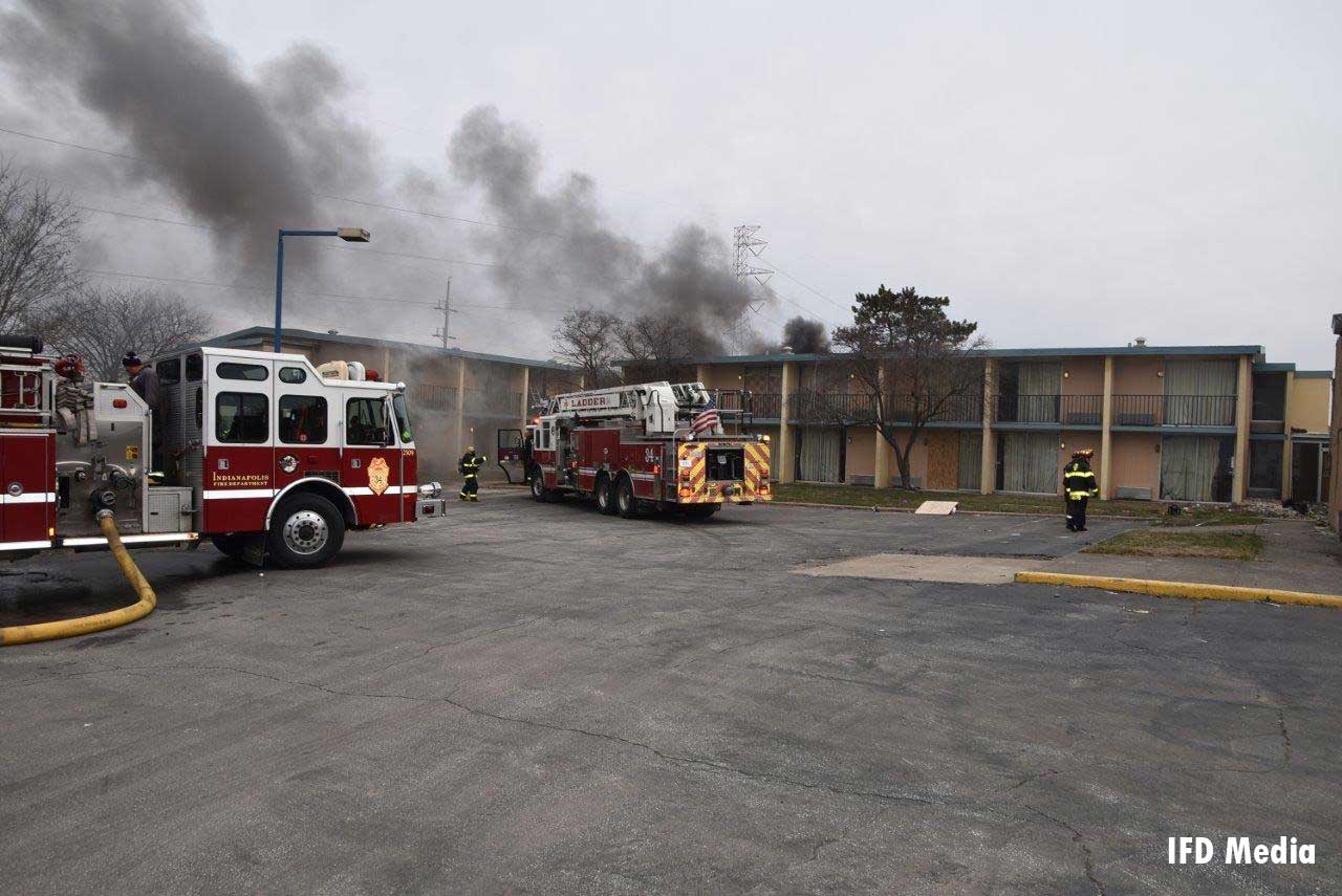 Fire apparatus at vacant motel fire in Indiana
