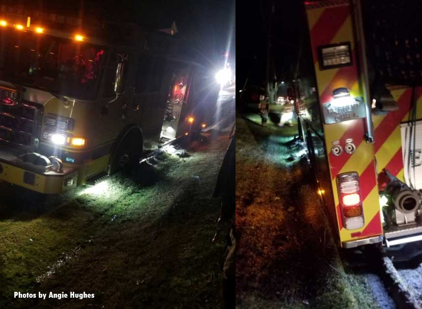 Two views of the stuck fire apparatus