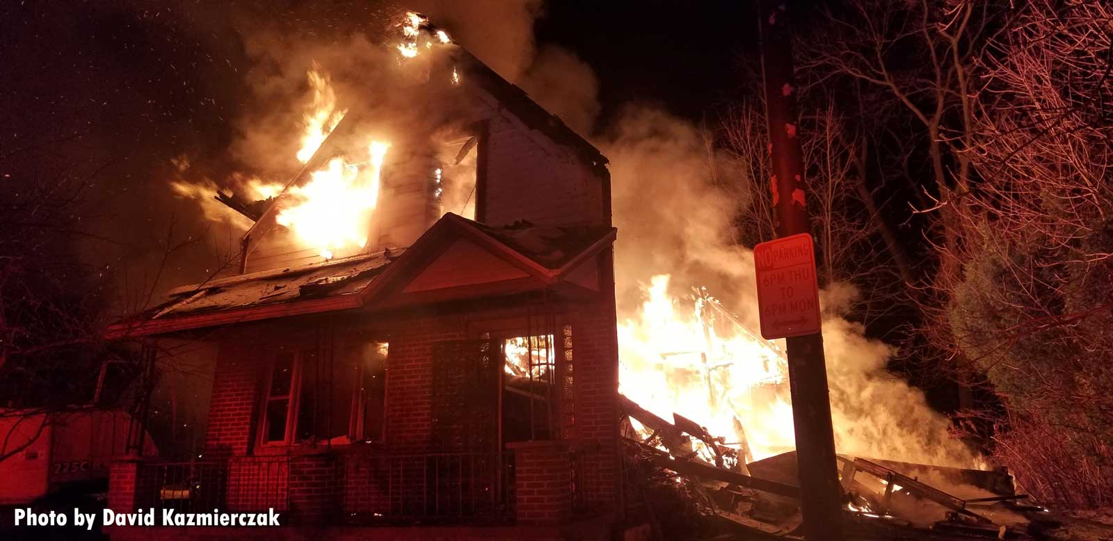 Flames burst from a home in Buffalo, New York.