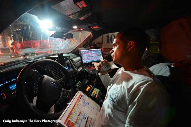 Fire officer in command vehicle
