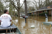 Water damage after river flooding in South