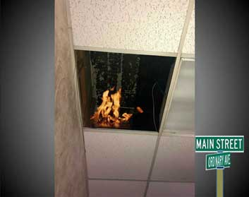 Drop ceiling with fire in void space