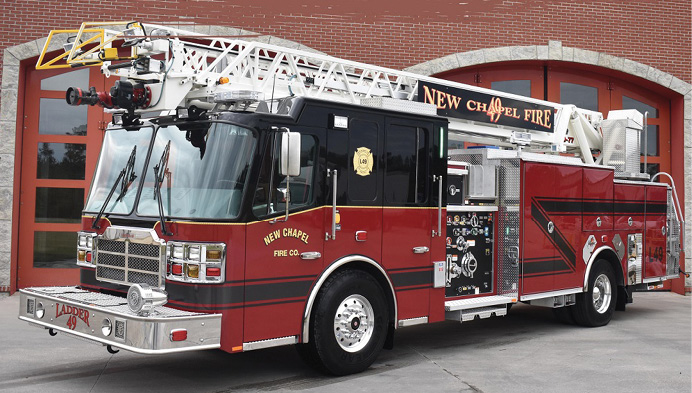 The New Albany Township (IN) Fire Department responds with this quint built by FERRARA FIRE APPARATUS.
