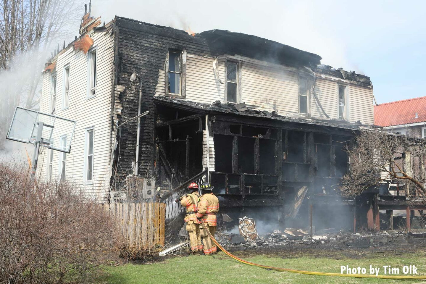 Firefighters responding to a two-alarm fire in Rockford, Illinois