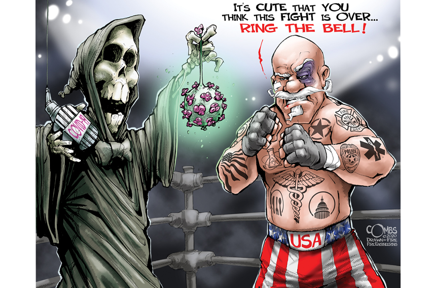 Boxer Uncle Sam battling death and the coronavirus