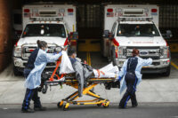 Patients wheeled into NYC hospital