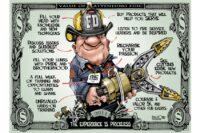 Firefighter on a dollar bill holding extrication tools