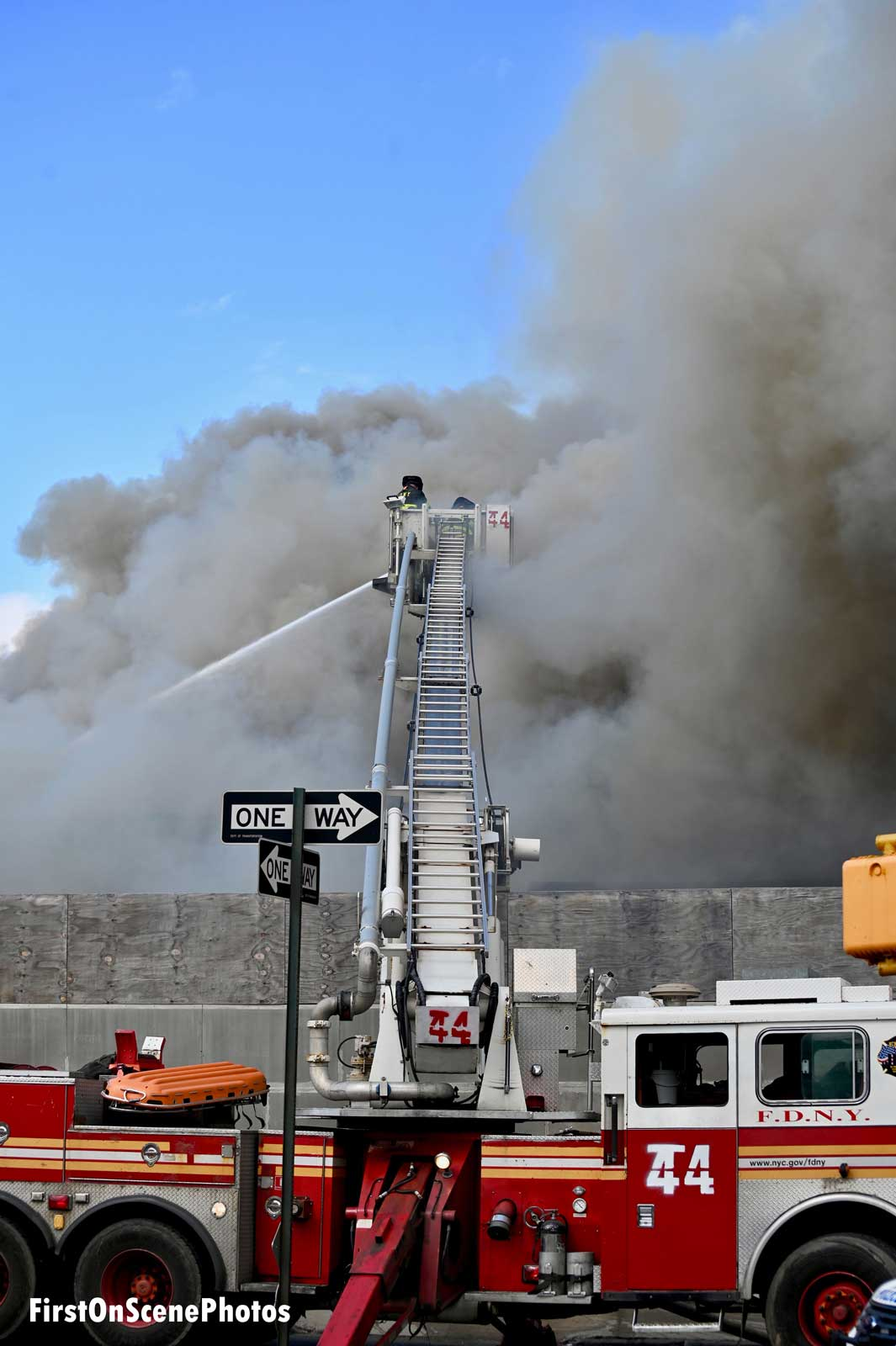 Another view of the tower ladder working