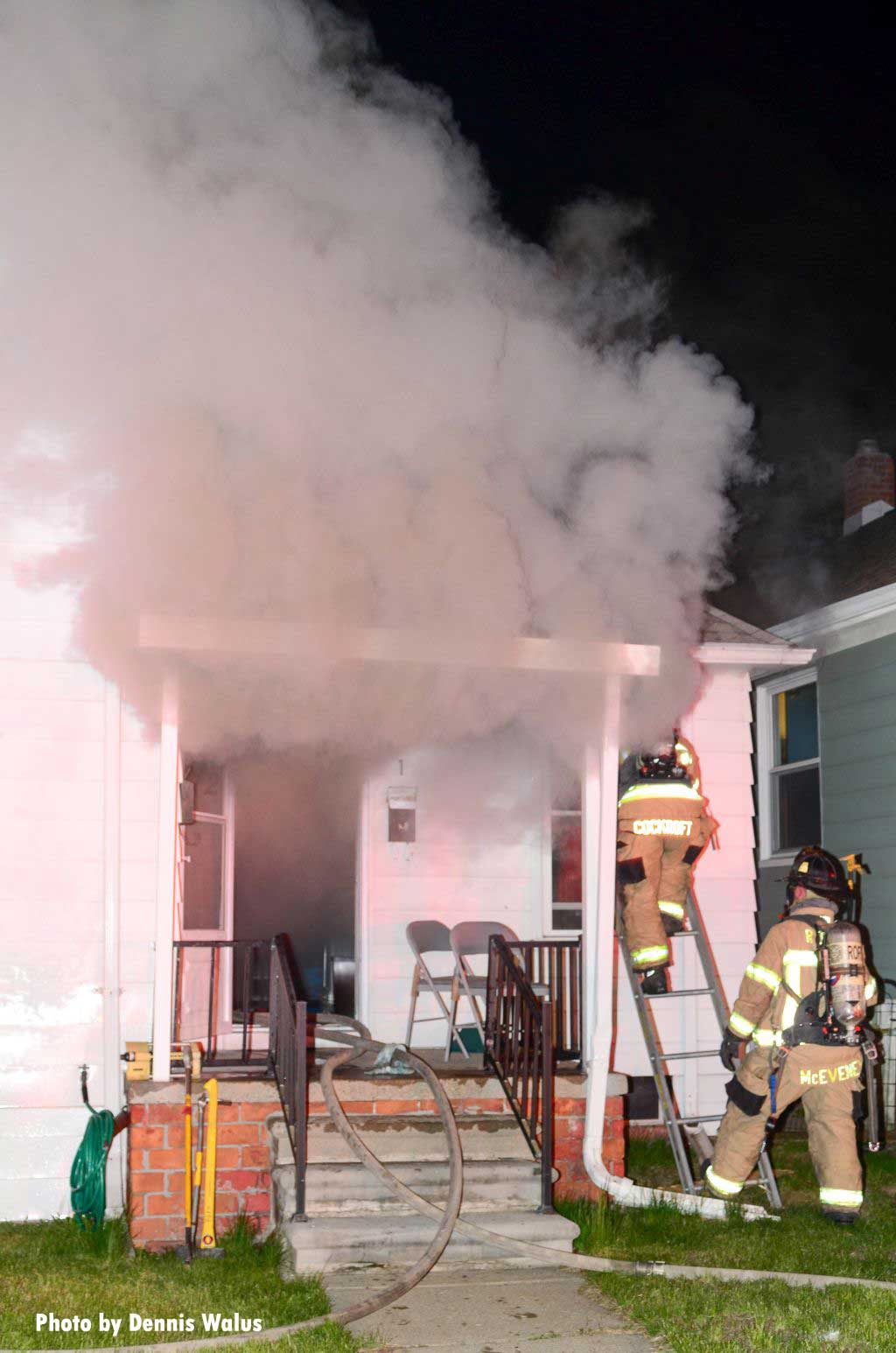 Fire companies working at a house fire