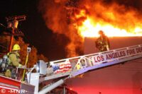 LAFD crews at the scene of a Major Emergency fire