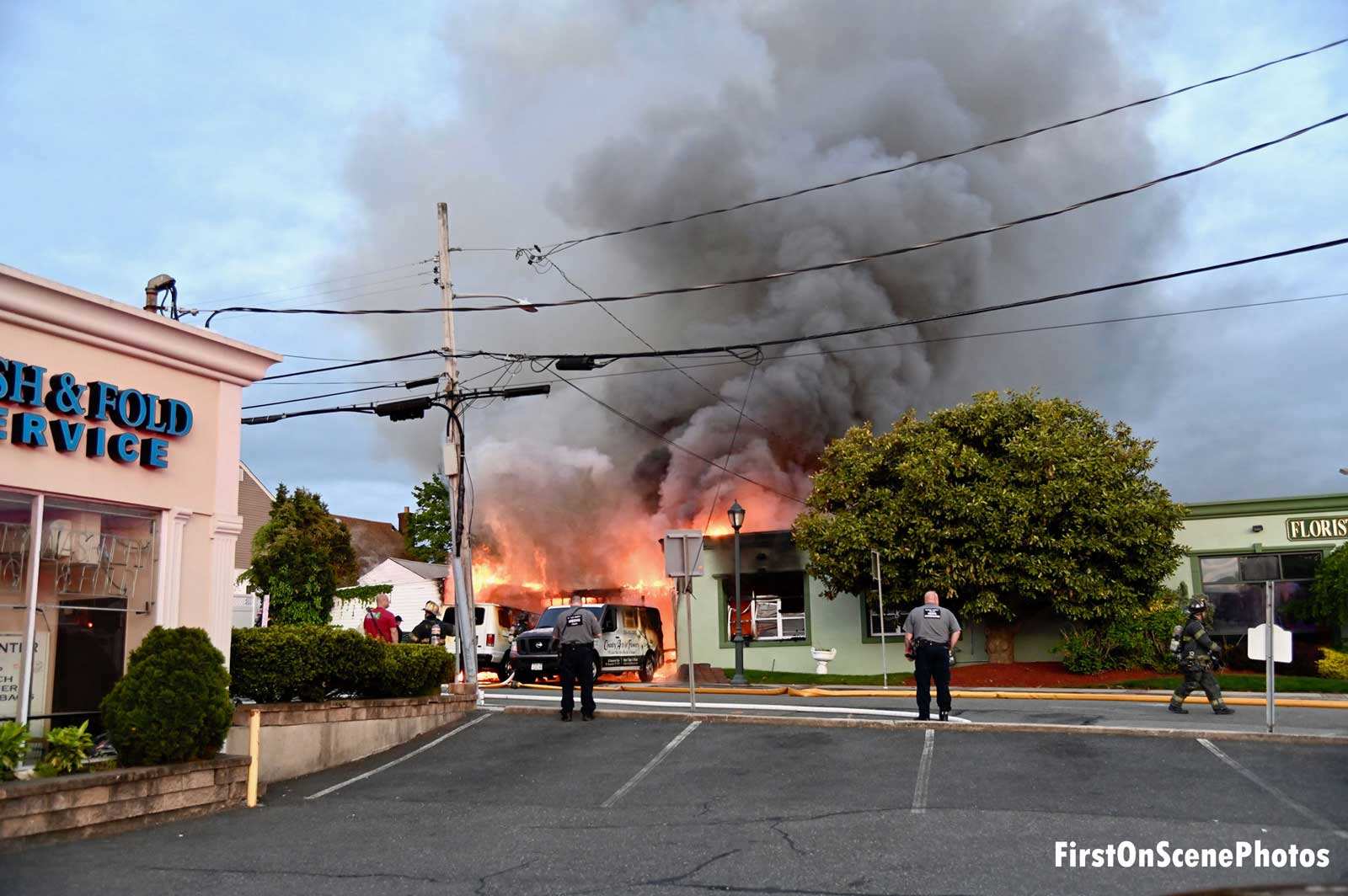 Flames shoot from a florist in West Hempstead, New York.