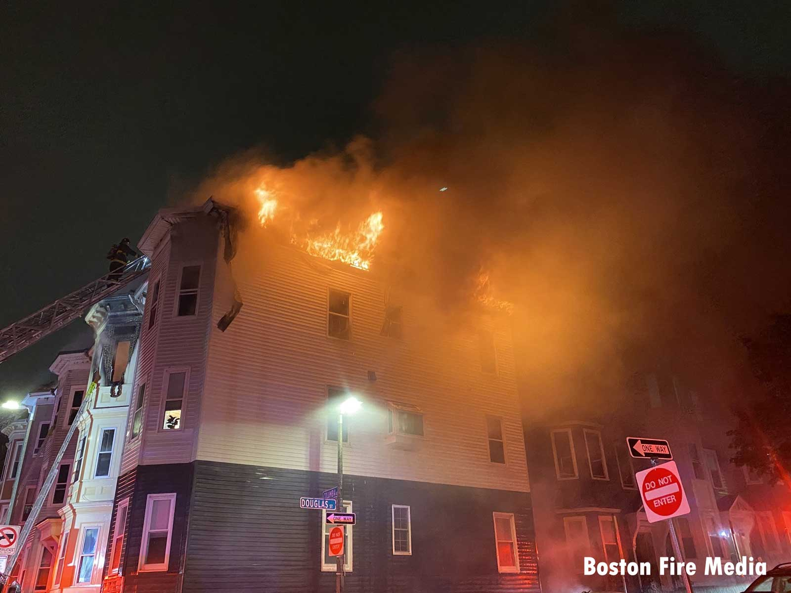 Fire vents from multiple areas of a triple-decker