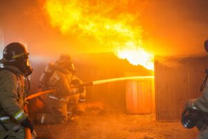 Firefighters at a controlled burn