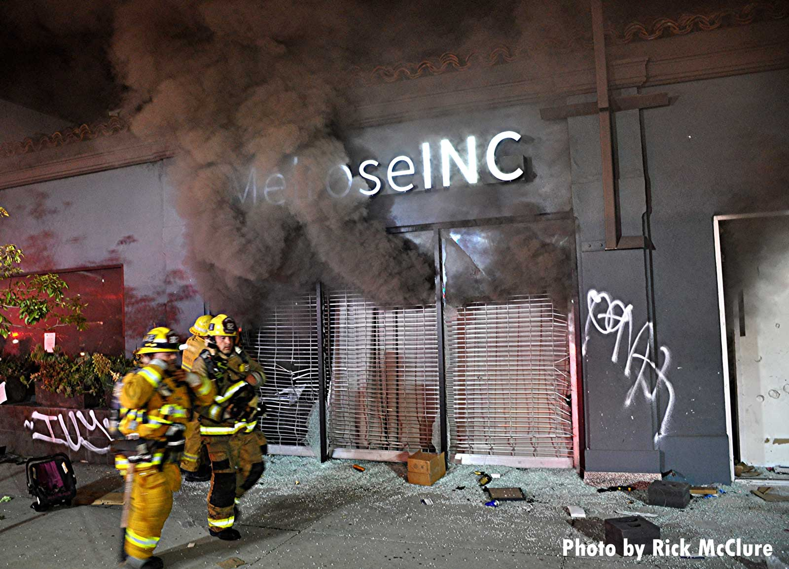 Smoke emerges from a building L.A.