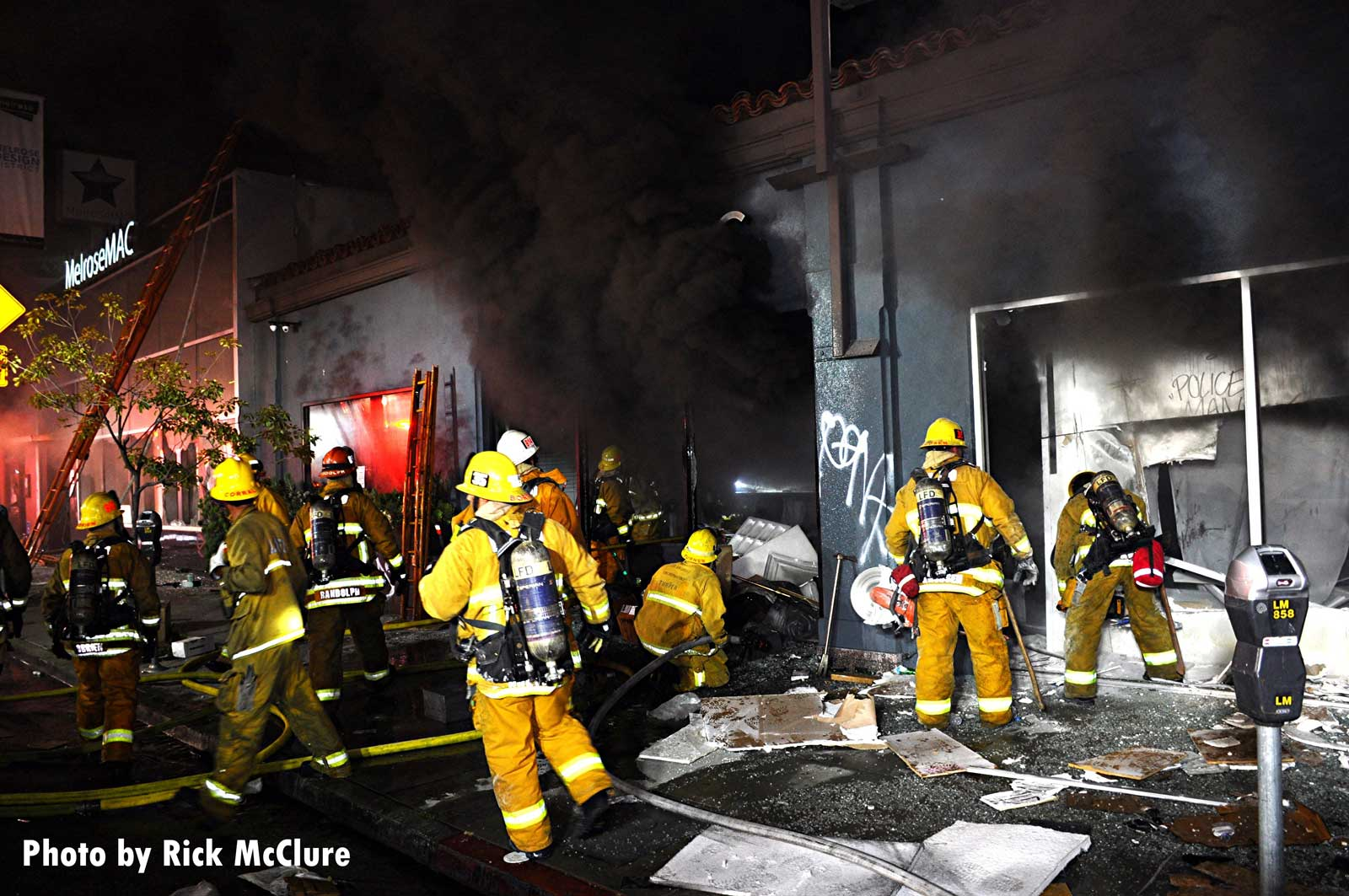 Los Angeles firefighters working at scene of fire