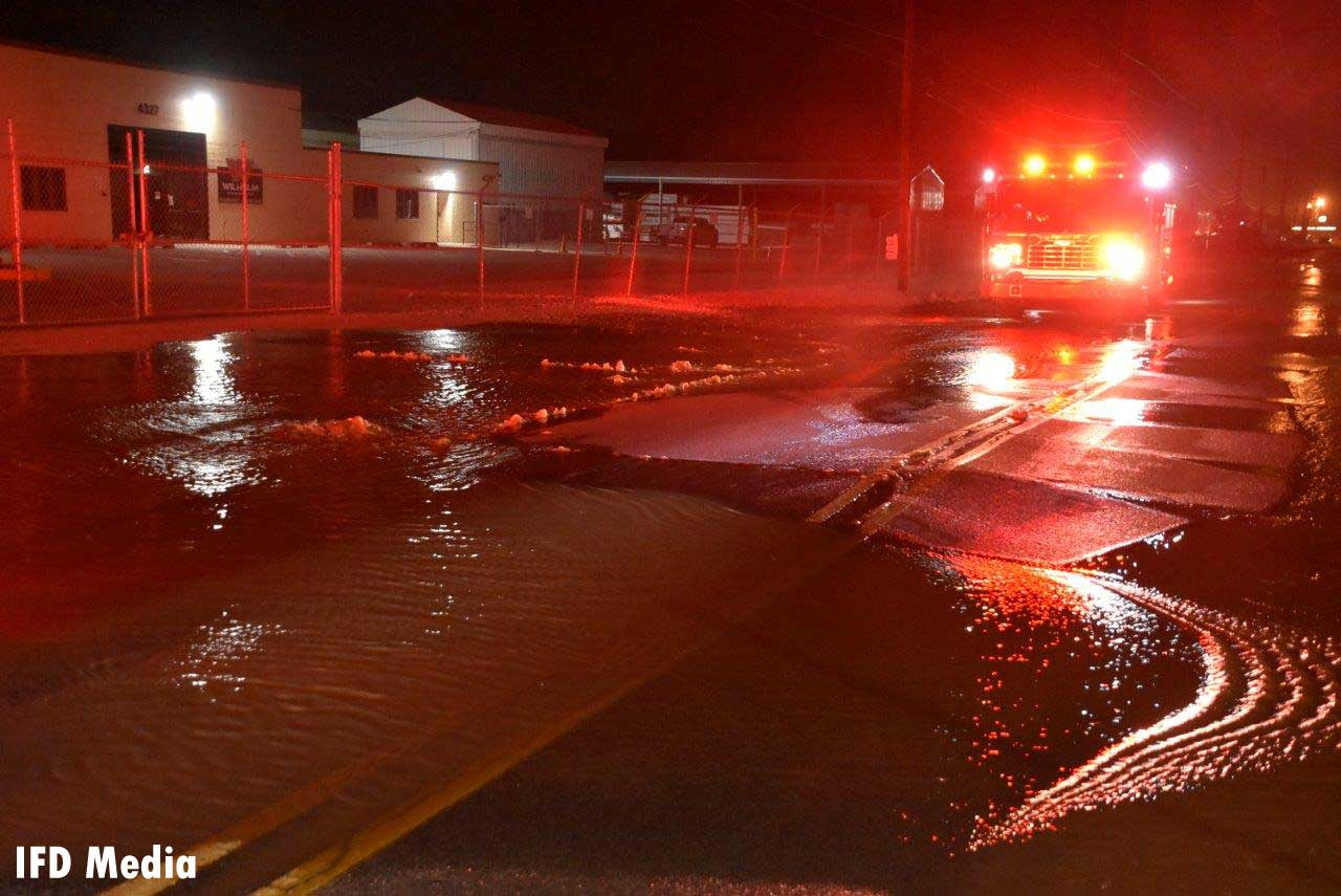 An Indianapolis fire truck amid a water main break