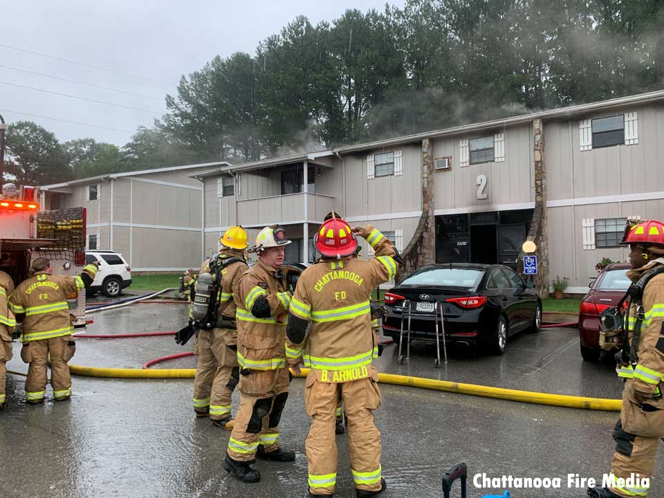 Chattanooga firefighters at the scene of an apartment fire