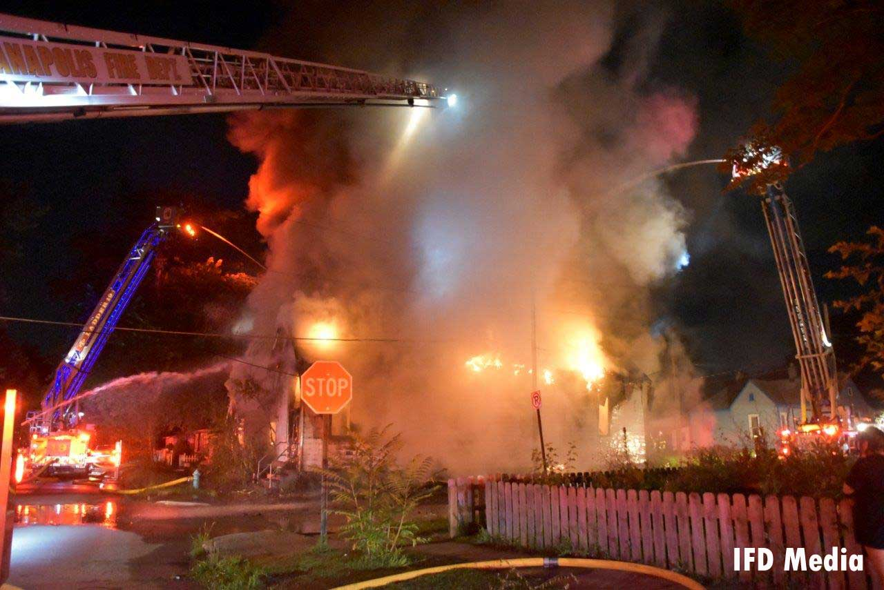Multiple Indianapolis fire apparatus at a structure fire