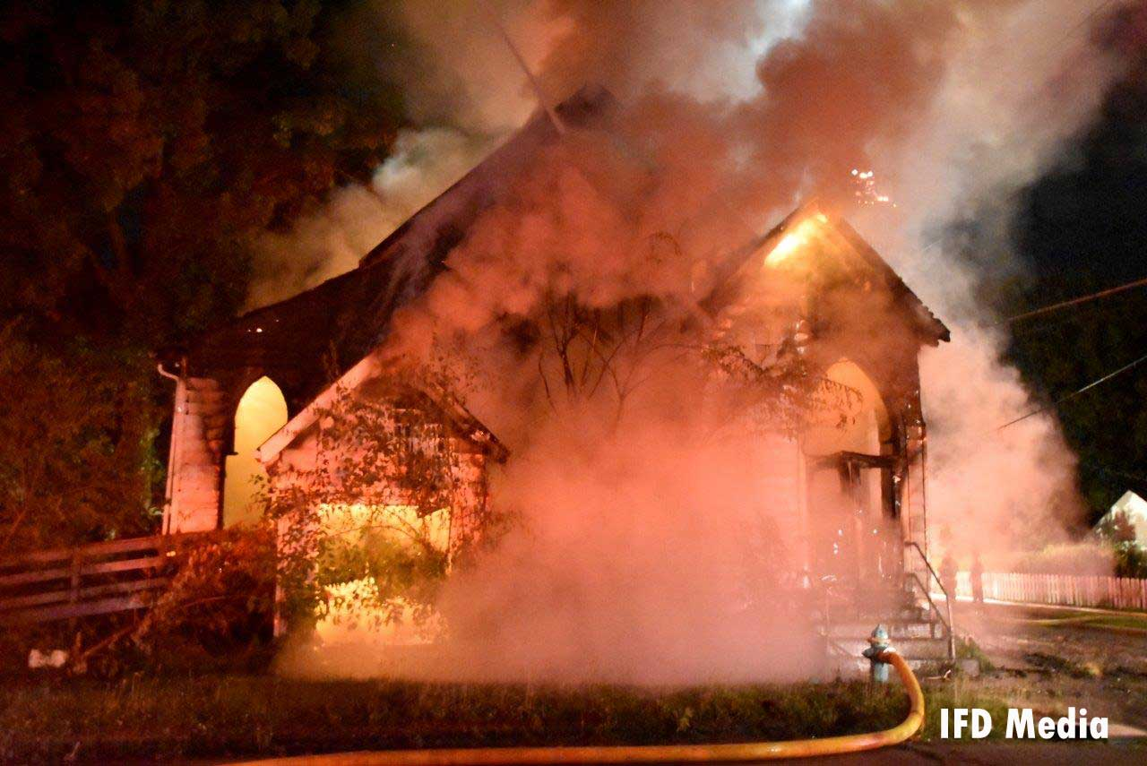 Flames raging inside the former church