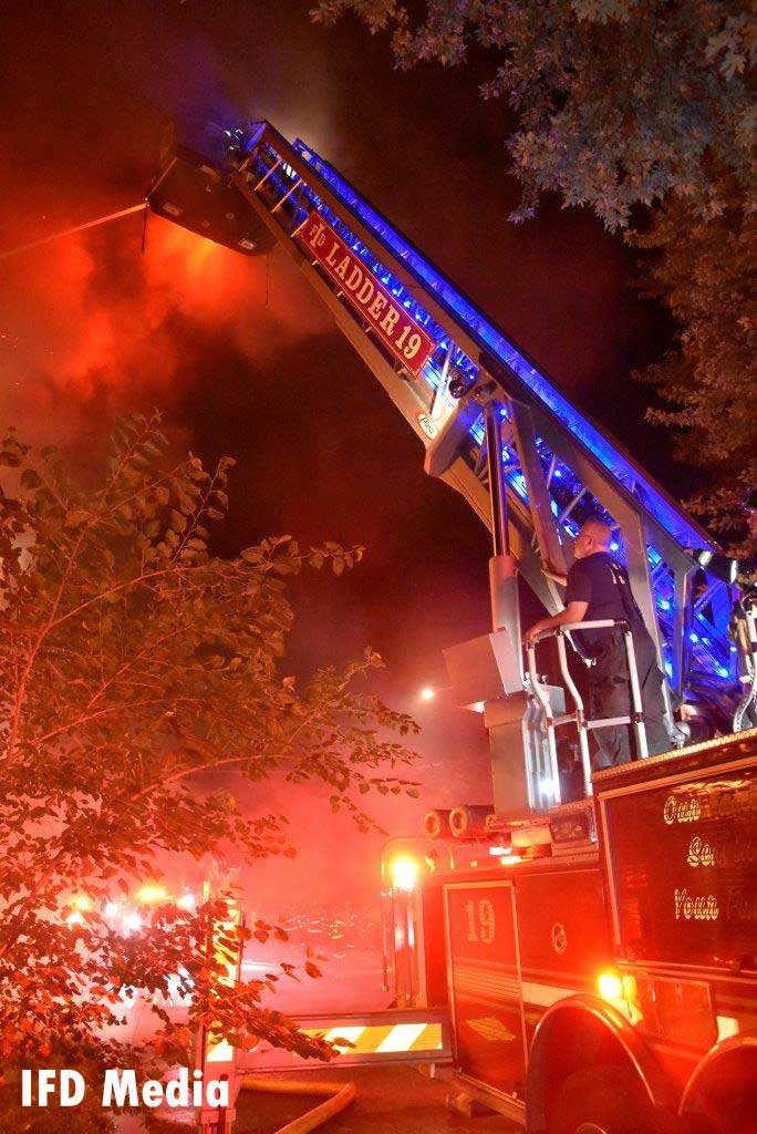 Aerial device with master stream at church fire